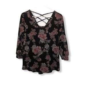 Gray floral light sweater 3/4 sleeve top